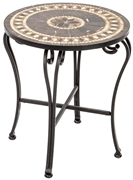 "Alfresco Gibraltar 20"" Round Marble Mosaic Side Table"