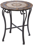 "Alfresco Compass 20"" Round Marble Mosaic Side Table"