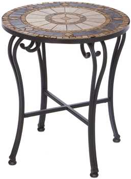"""Alfresco Compass 20"""" Round Marble Mosaic Side Table"""