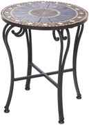 "Alfresco Galileo 20"" Round Marble Mosaic Side Table"