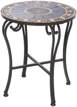 "Alfresco Galileo 20"" Round Marble Mosaic Side Table"