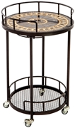"Alfresco Gibraltar 20"" Round Marble Mosaic Outdoor Serving Cart With Wine Holders"