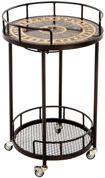 """Alfresco Gibraltar 20"""" Round Marble Mosaic Outdoor Serving Cart With Wine Holders"""