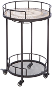 "Alfresco Compass 20"" Round Marble Mosaic Outdoor Serving Cart With Wine Holders"