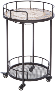 """Alfresco Compass 20"""" Round Marble Mosaic Outdoor Serving Cart With Wine Holders"""
