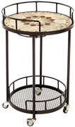 "Alfresco Notre Dame 20"" Round Marble Mosaic Outdoor Serving Cart With Wine Holders"