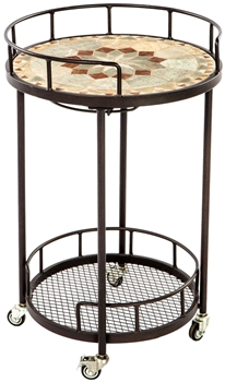 """Alfresco Notre Dame 20"""" Round Marble Mosaic Outdoor Serving Cart With Wine Holders"""