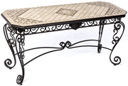 "Alfresco Basilica Marble Mosaic 64"" Outdoor Sideboard Console Table"