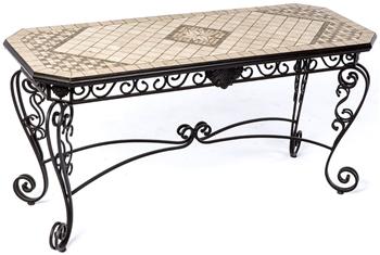 "Alfresco Basilica Marble Mosaic 64"" Outdoor Sideboard Console Table"
