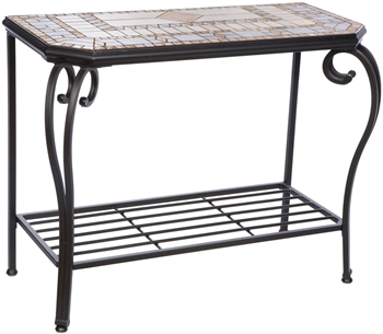 Alfresco Compass Marble Mosaic Outdoor Hexagon Sideboard With Console Table