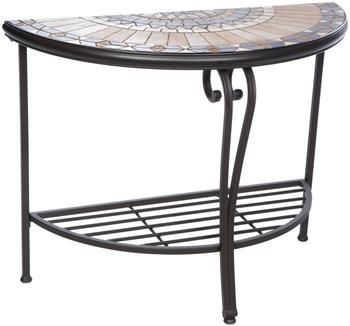 Alfresco Loretto Mosaic Outdoor Half Moon Console Table