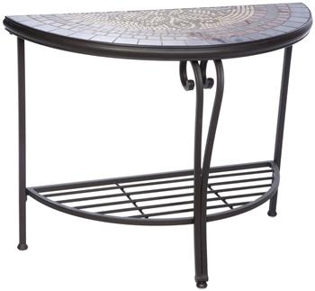 Alfresco Orvieto Mosaic Outdoor Half Moon Console Table