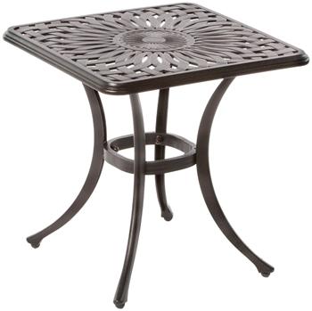 """Alfresco Florentine 21"""" Square Cast Aluminum Side Table"""