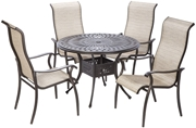 """Alfresco Charter Sling Dining Set With 42"""" Square Cast Aluminum Table Chairs"""