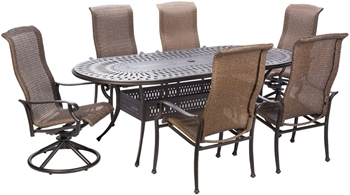 """Alfresco Naples Wicker Dining Height Set With 87"""" Oval Cast Aluminum Table And 2 Dining Swivel Rockers And 4 Dining Arm Chairs"""