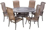"""Alfresco Naples Wicker Dining Height Set With 60"""" Round Cast Aluminum Table And Chairs"""