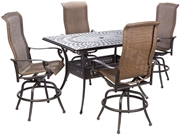 """Alfresco Naples Gathering Height Set With 42"""" X 57"""" Cast Aluminum Table And 6 Swivel Arm Chairs"""
