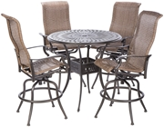 "Alfresco Naples Bar Height Set With 42"" Round Cast Aluminum Table And 4 Bar Height Swivel Arm Chairs"