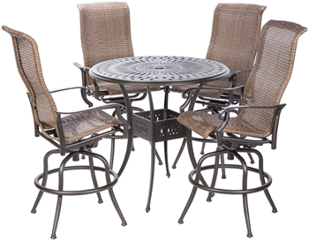 """Alfresco Naples Bar Height Set With 42"""" Round Cast Aluminum Table And 4 Bar Height Swivel Arm Chairs"""
