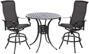 """Alfresco Barbados Bar Height Set with 42"""" Round Cast Aluminum Table and 2 Bar Height Swivel Arm Chairs"""