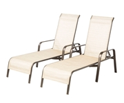 Alfresco Set Of 2 All Aluminum Charter Stackable Sling Chaises