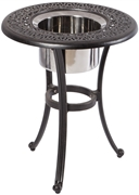 "Alfresco Kaleidoscope 21"" Round Cast Aluminum Beverage Side Table - Antique Wine Finish"