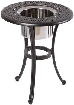 "Alfresco Kaleidoscope 21"" Round Cast Aluminum Beverage Side Table - Antique Wine Finish"