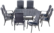 """Alfresco Barbados All Weather Wicker Dining Set With 64"""" Square Dining Table And 8 High Back Dining Arm Chairs"""