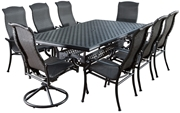 """Alfresco Barbados All Weather Wicker Dining Set With 46"""" X 86"""" Rectangle Cast Aluminum Dining Table And Chairs"""