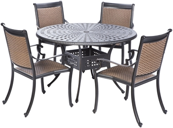 """Alfresco Pilot All Weather Wicker Dining Set With 48"""" Round Cast Aluminum Dining Table And Chairs"""
