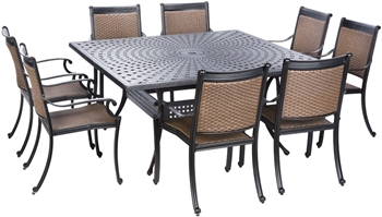 "Alfresco Pilot All Weather Wicker Dining Set With 64"" Square Cast Aluminum Dining Table And Chairs"