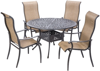 """Alfresco Charter High Back Sling Dining Set With 48"""" Round Cast Aluminum Dining Table And Chairs"""