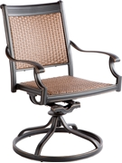 Alfresco Pilot All Weather Wicker Swivel Dining Arm Chairs