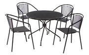 Alfresco Martini Café Dining Set With Table And 4 Chairs-Black Patent Finish