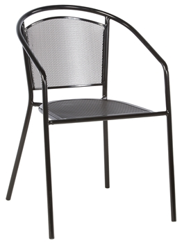 Alfresco Martini Café Stackable Dining Chair - Black Patent Finish - Set Of 4 Chairs