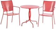 """Alfresco Martini 3 Piece Bistro Set In Cherry Pie Finish With 27.5"""" Round Bistro Table And 2 Stackable Bistro Chairs"""