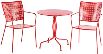 "Alfresco Martini 3 Piece Bistro Set In Cherry Pie Finish With 27.5"" Round Bistro Table And 2 Stackable Bistro Chairs"