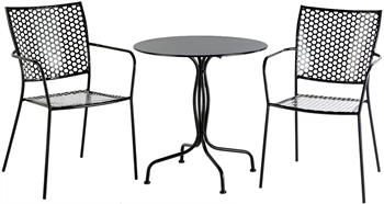 """Alfresco Martini 3 Piece Bistro Set In Black Finish With 27.5"""" Round Bistro Table And 2 Stackable Bistro Chairs"""