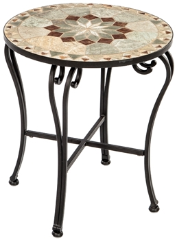 """Notre Dame 20"""" Round Marble Mosaic Side Table"""