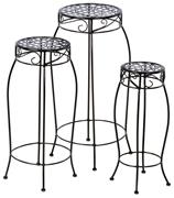 Alfresco Martini Plant Stands In Black Patent - Set Of 3