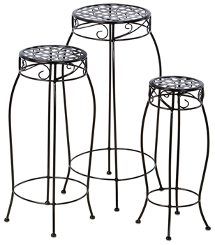 Alfresco Martini Plant Stands In Black Patent - Set Of 3