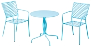 """Alfresco Martini 3 Piece Bistro Set In Sky Blue Finish With 27.5"""" Round Bistro Table And 2 Stackable Bistro Chairs"""