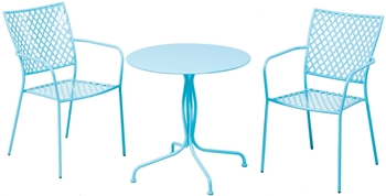 "Alfresco Martini 3 Piece Bistro Set In Sky Blue Finish With 27.5"" Round Bistro Table And 2 Stackable Bistro Chairs"