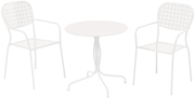 """Alfresco Martini 3 Piece Bistro Set In Bianca Finish With 27.5"""" Round Bistro Table And 2 Stackable Bistro Chairs"""