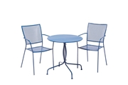 """Alfresco Martini 3 Piece Bistro Set In Etta Blue Finish With 27.5"""" Round Bistro Table And 2 Stackable Bistro Chairs"""