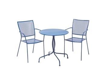 "Alfresco Martini 3 Piece Bistro Set In Etta Blue Finish With 27.5"" Round Bistro Table And 2 Stackable Bistro Chairs"