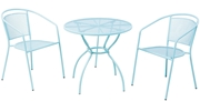"""Alfresco Martini 3 Piece Bistro Set in Sky Blue Finish with 31.5"""" Round Bistro Table and 2 Stackable Bistro Chairs"""
