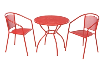 """Alfresco Martini 3 Piece Bistro Set in Cherry Pie Finish with 31.5"""" Round Bistro Table and 2 Stackable Bistro Chairs"""