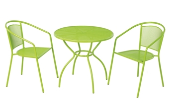 "Alfresco Martini 3 Piece Bistro Set In Keylime Green Finish With 31.5"" Round Bistro Table And 2 Stackable Bistro Chairs"