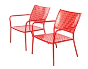 Alfresco Set Of 2 Martini Low Profile Lounge Chairs In Cherry Pie Finish